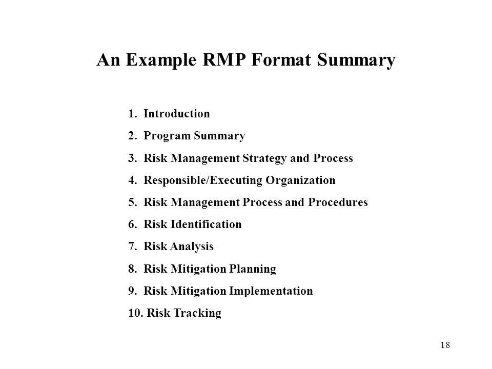 An Example RMP Format Summary