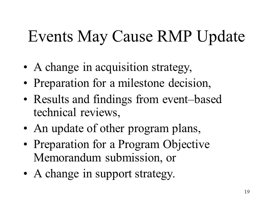 Events May Cause RMP Update