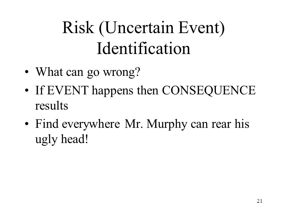 Risk (Uncertain Event) Identification