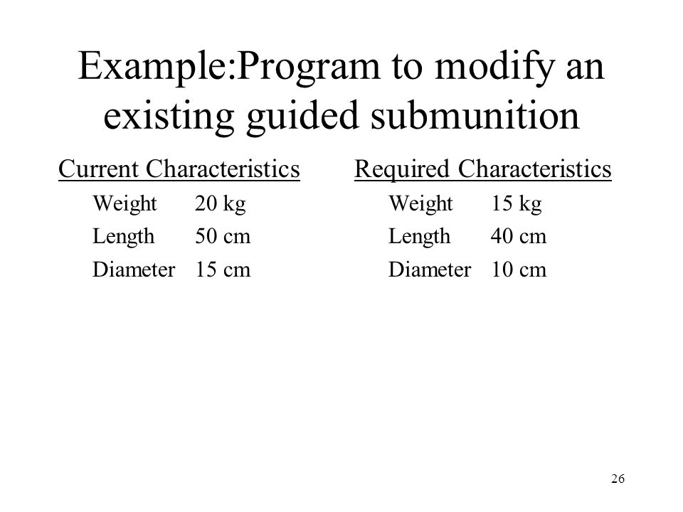 Example:Program to modify an existing guided submunition