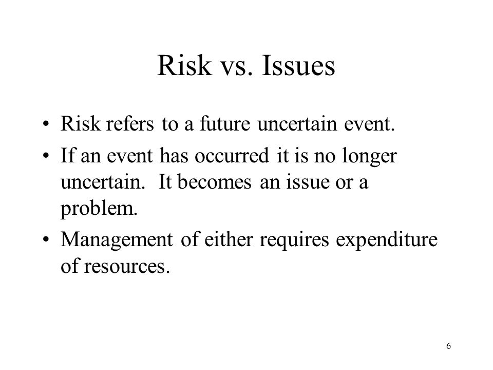 Risk vs. Issues Risk refers to a future uncertain event.