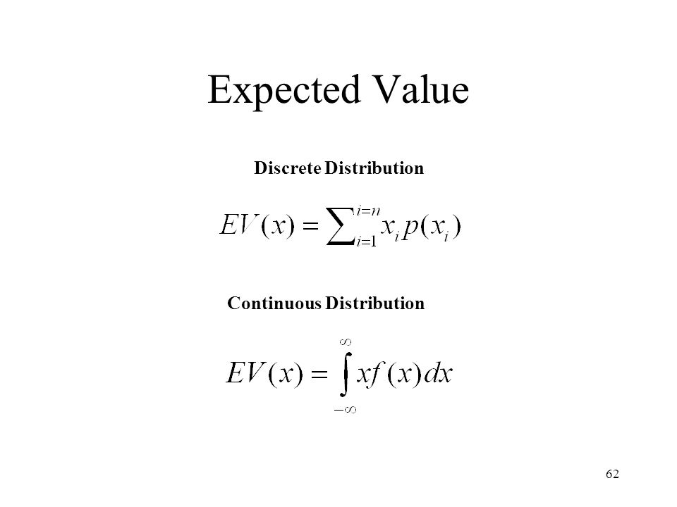 Expected Value Discrete Distribution Continuous Distribution