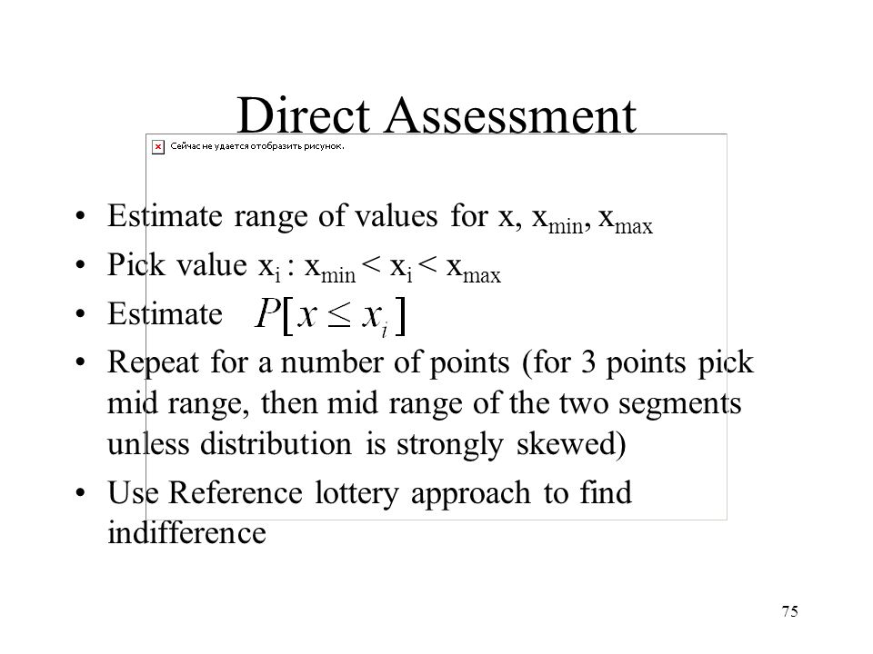 Direct Assessment Estimate range of values for x, xmin, xmax