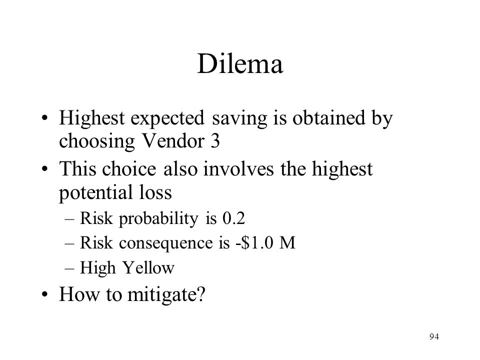 Dilema Highest expected saving is obtained by choosing Vendor 3