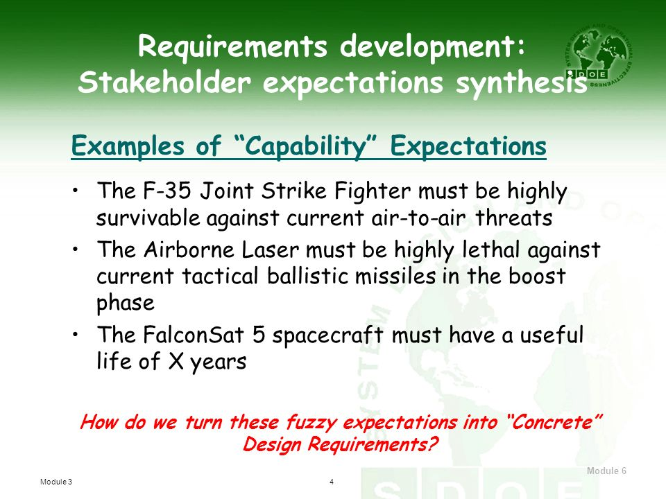 Requirements development: Stakeholder expectations synthesis