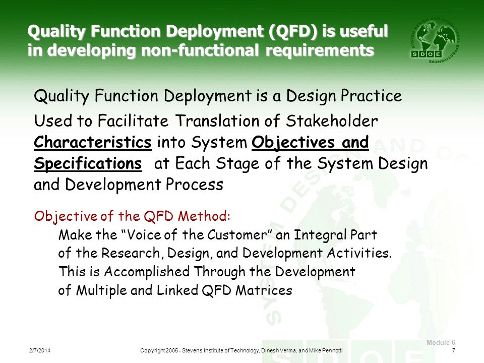 Quality Function Deployment is a Design Practice