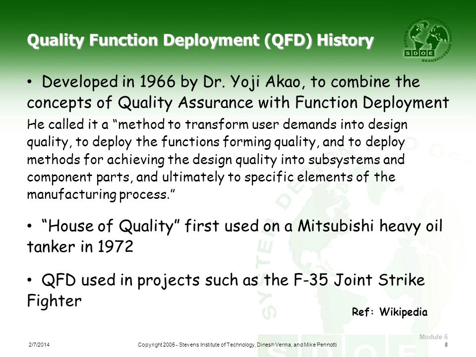 Quality Function Deployment (QFD) History