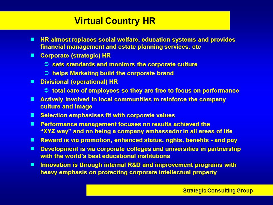 Virtual Country HR HR almost replaces social welfare, education systems and provides financial management and estate planning services, etc.