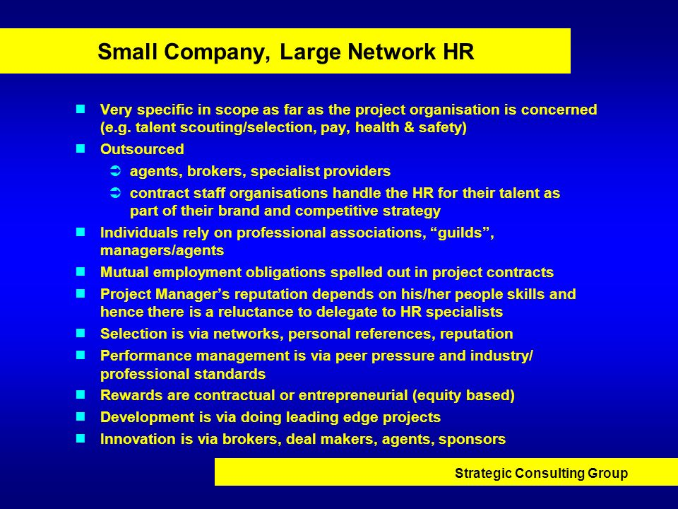 Small Company, Large Network HR