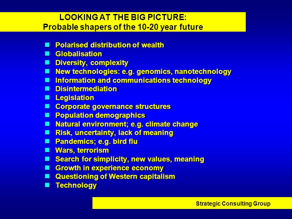 LOOKING AT THE BIG PICTURE: Probable shapers of the 10-20 year future