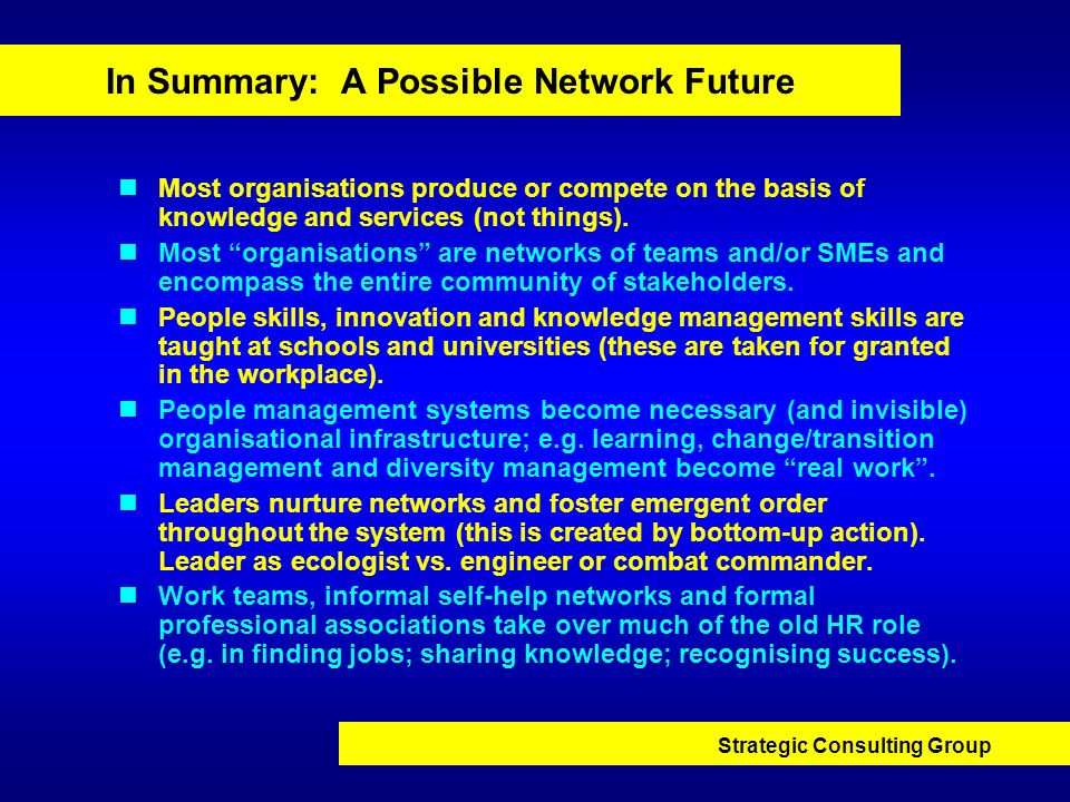 In Summary: A Possible Network Future