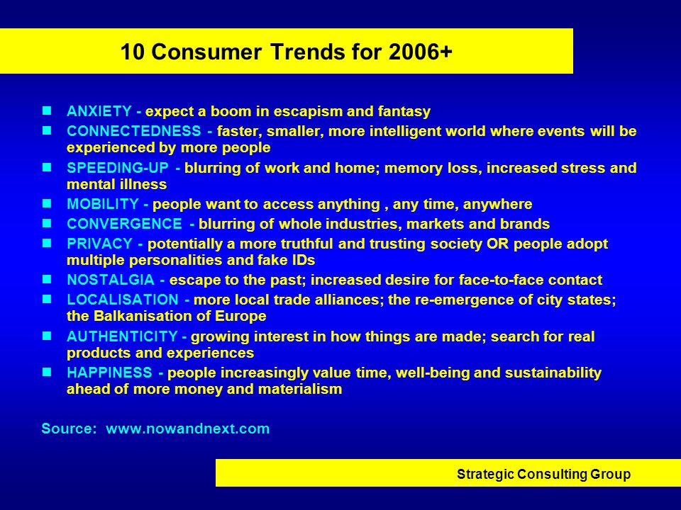 10 Consumer Trends for 2006+ ANXIETY - expect a boom in escapism and fantasy.