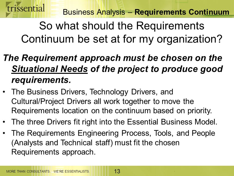 Business Analysis – Requirements Continuum