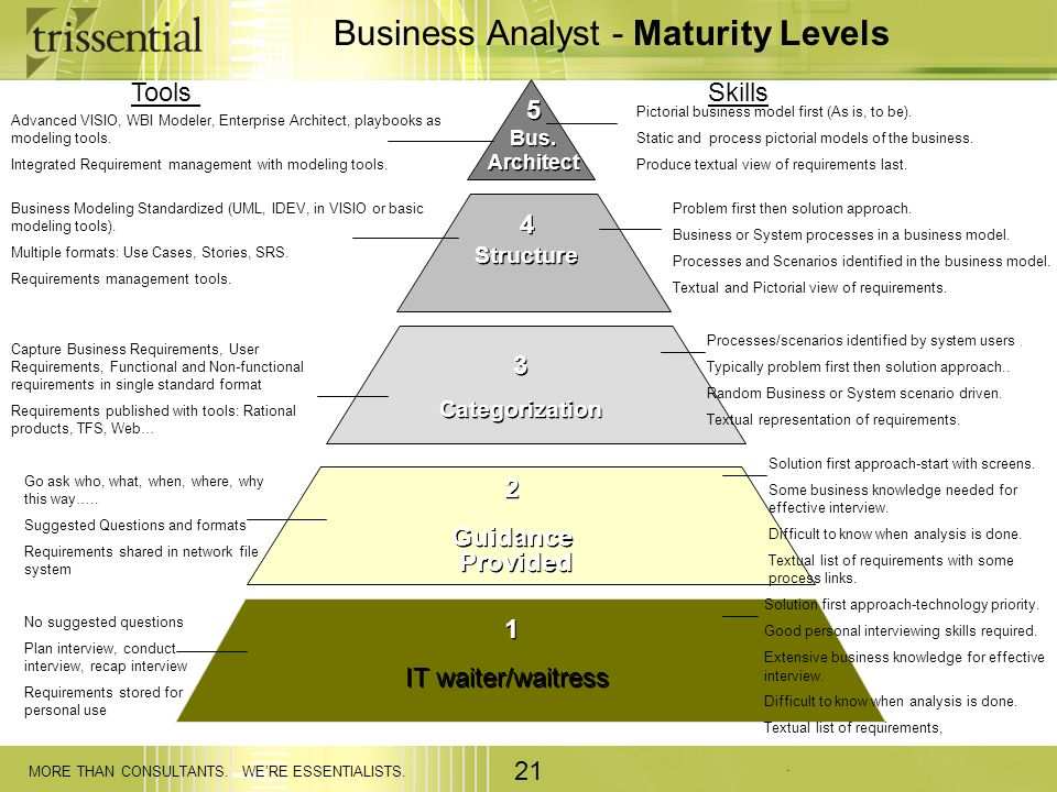 Business Analyst - Maturity Levels