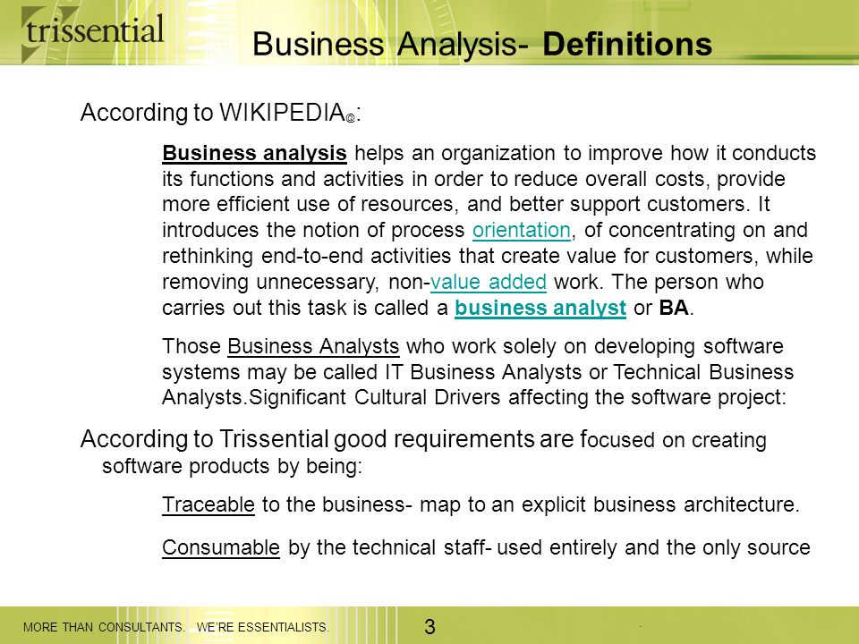 Business Analysis- Definitions