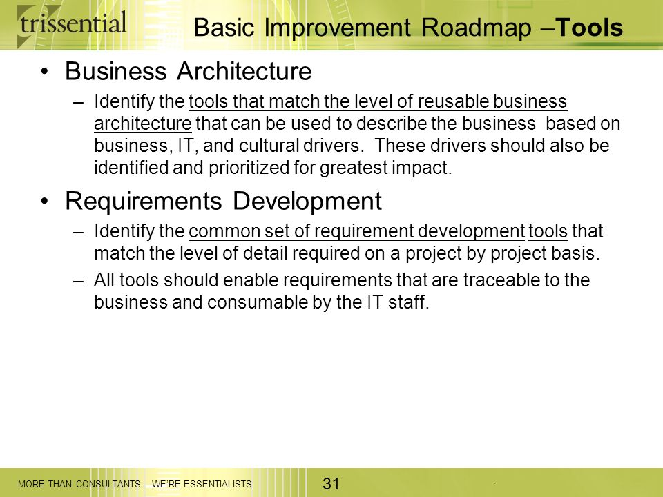 Basic Improvement Roadmap –Tools