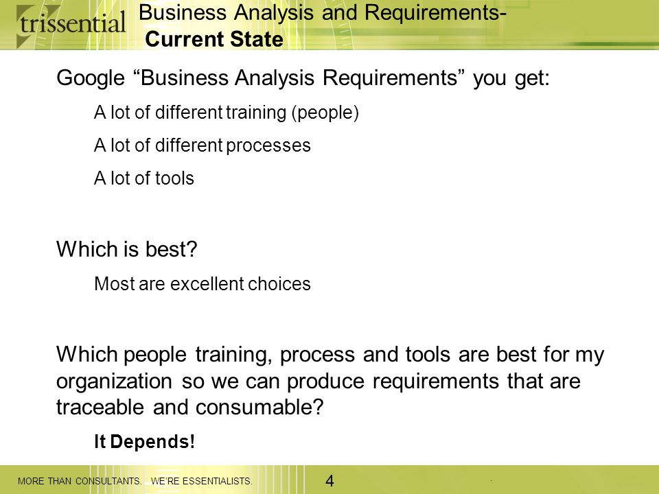 Business Analysis and Requirements- Current State