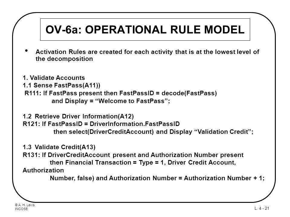 OV-6a: OPERATIONAL RULE MODEL