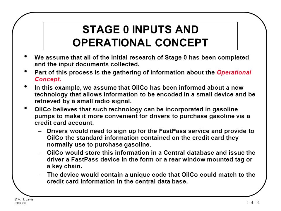 STAGE 0 INPUTS AND OPERATIONAL CONCEPT