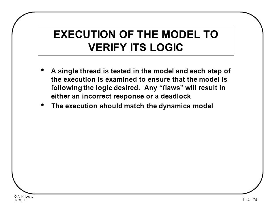 EXECUTION OF THE MODEL TO VERIFY ITS LOGIC