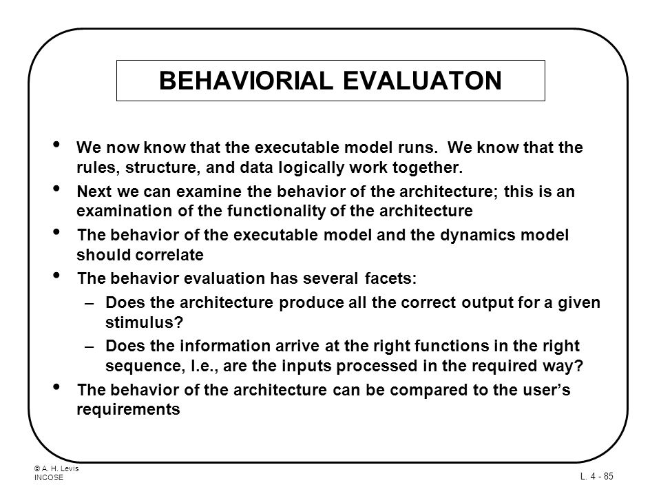 BEHAVIORIAL EVALUATON