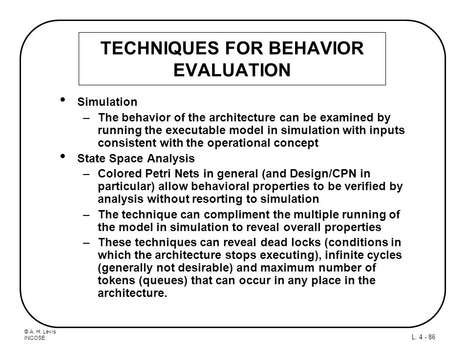TECHNIQUES FOR BEHAVIOR EVALUATION