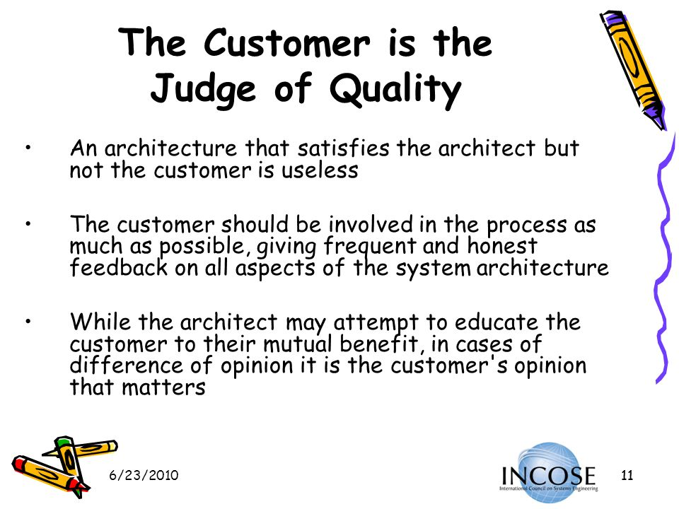 The Customer is the Judge of Quality