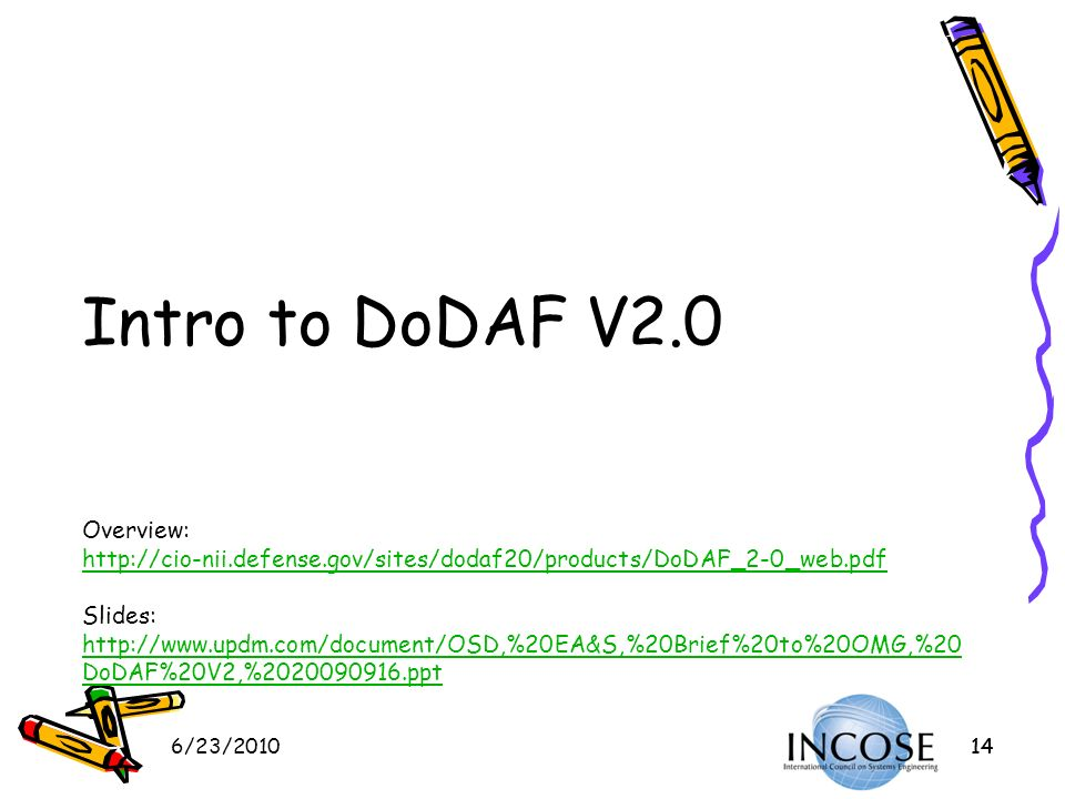 Intro to DoDAF V2. 0 Overview: http://cio-nii. defense