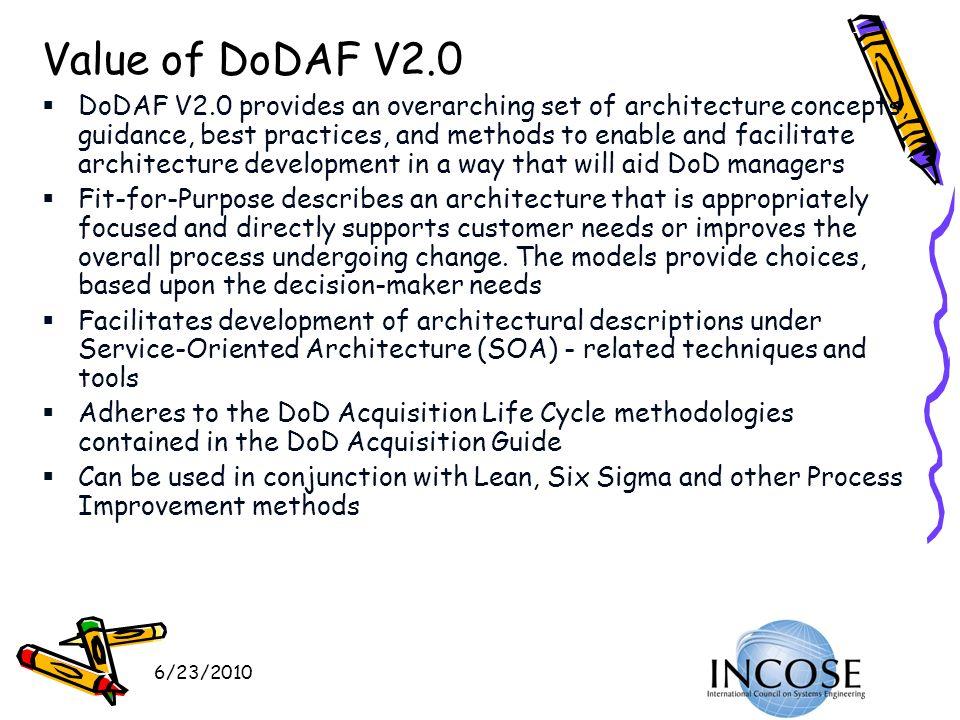 VERSION 15 3/27/2017 22:52. Value of DoDAF V2.0.