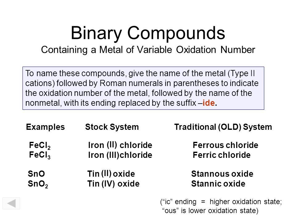 Binary compounds metals variable oxidation nonmetals ppt binary compounds containing a metal of variable oxidation number urtaz Images