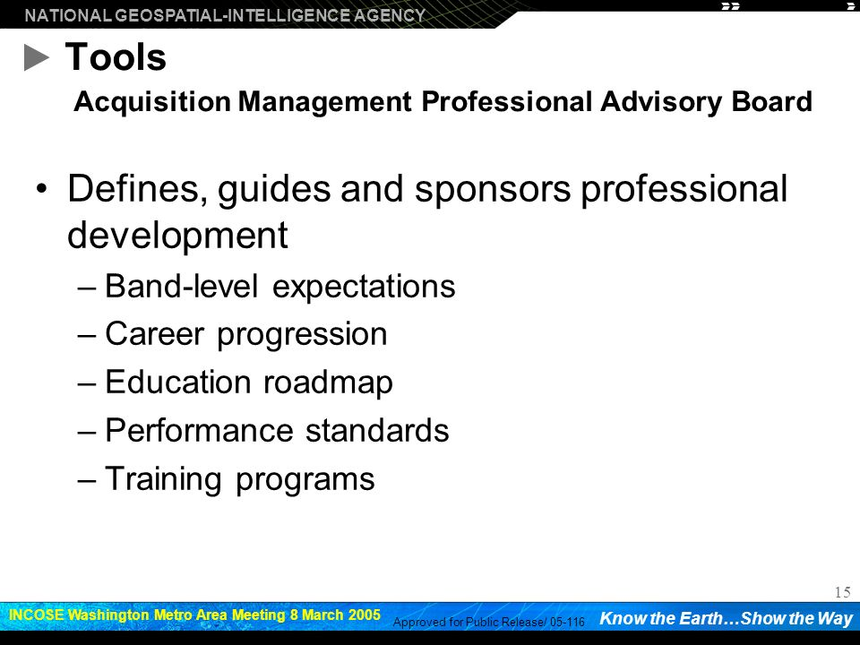 Tools Acquisition Management Professional Advisory Board