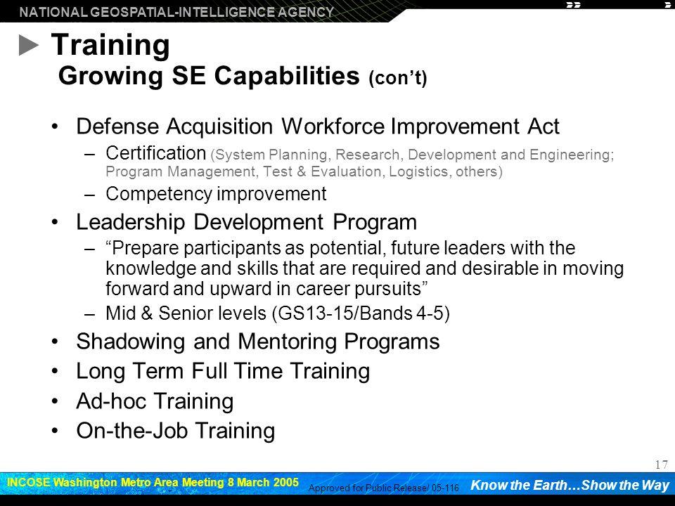 Training Growing SE Capabilities (con't)