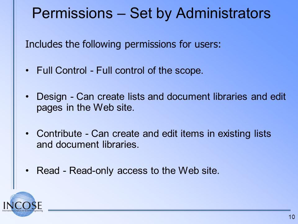 Permissions – Set by Administrators