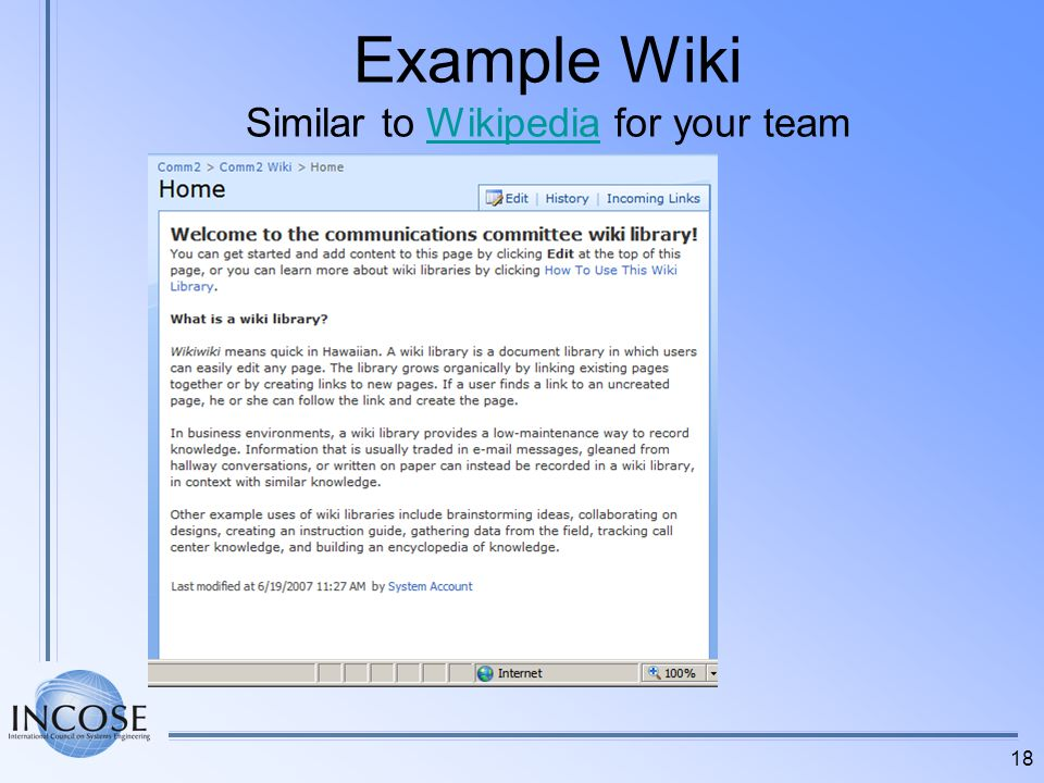 Example Wiki Similar to Wikipedia for your team