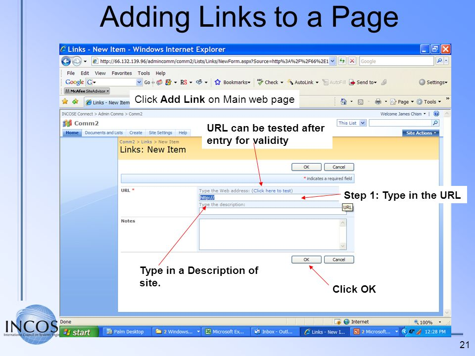 Adding Links to a Page Click Add Link on Main web page