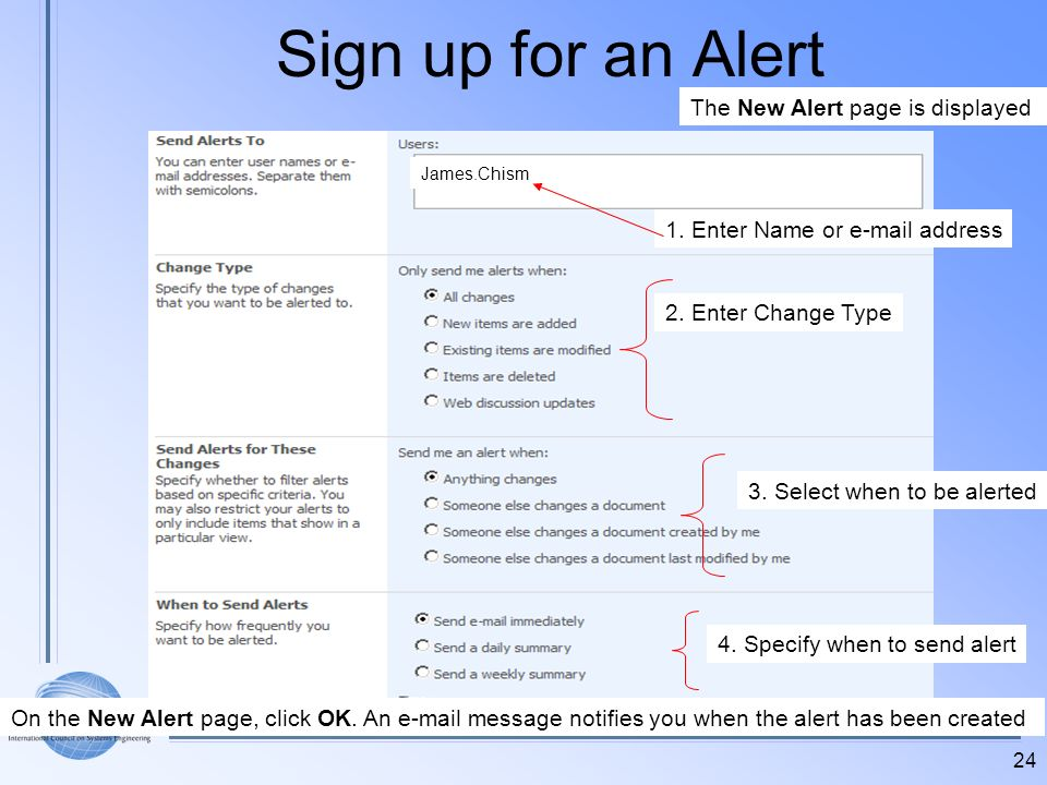 Sign up for an Alert The New Alert page is displayed