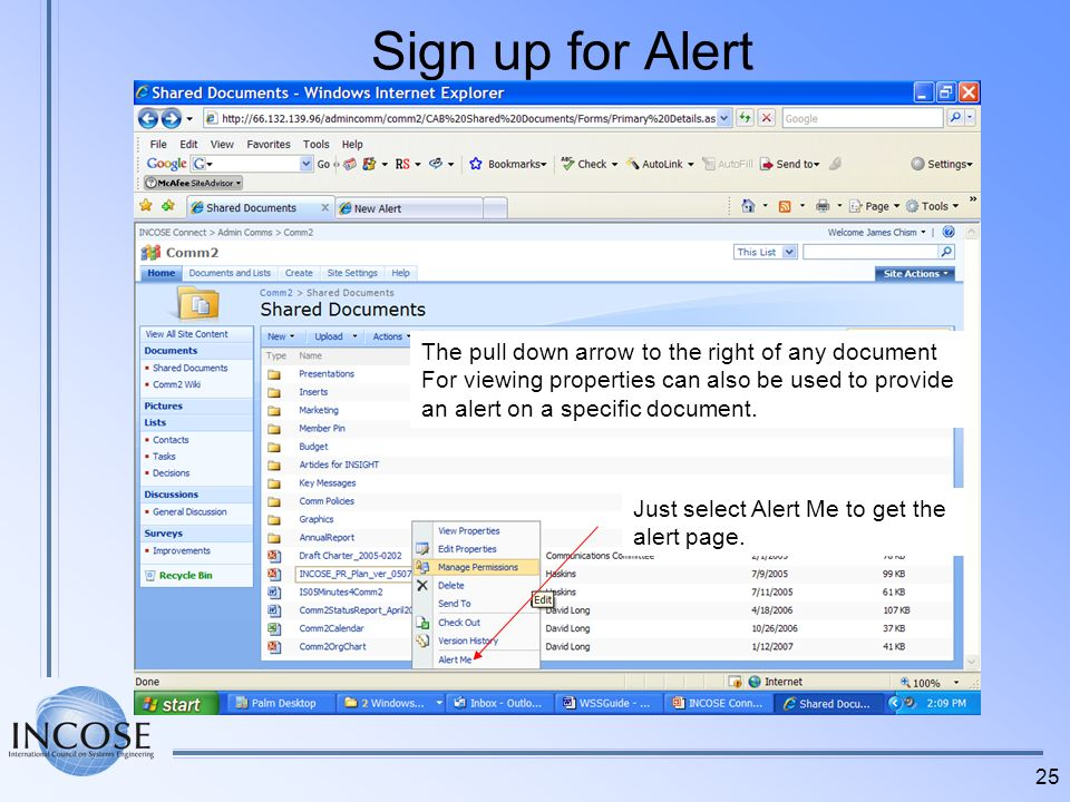 Sign up for Alert The pull down arrow to the right of any document