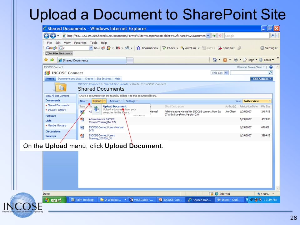 Upload a Document to SharePoint Site