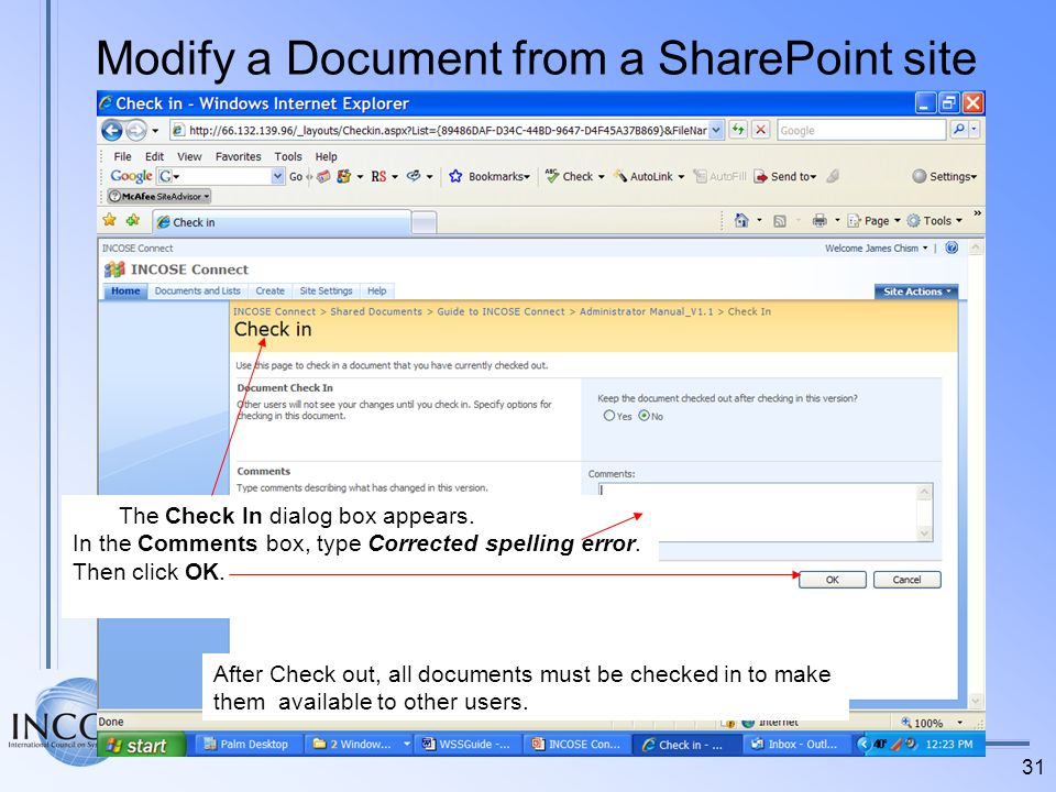 Modify a Document from a SharePoint site