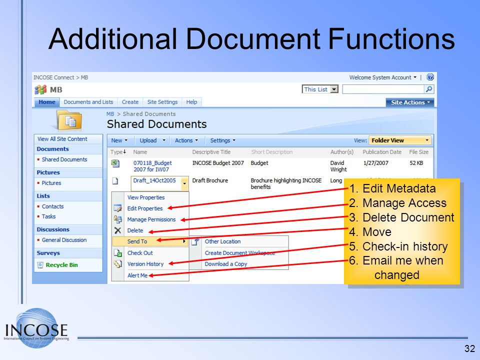 Additional Document Functions