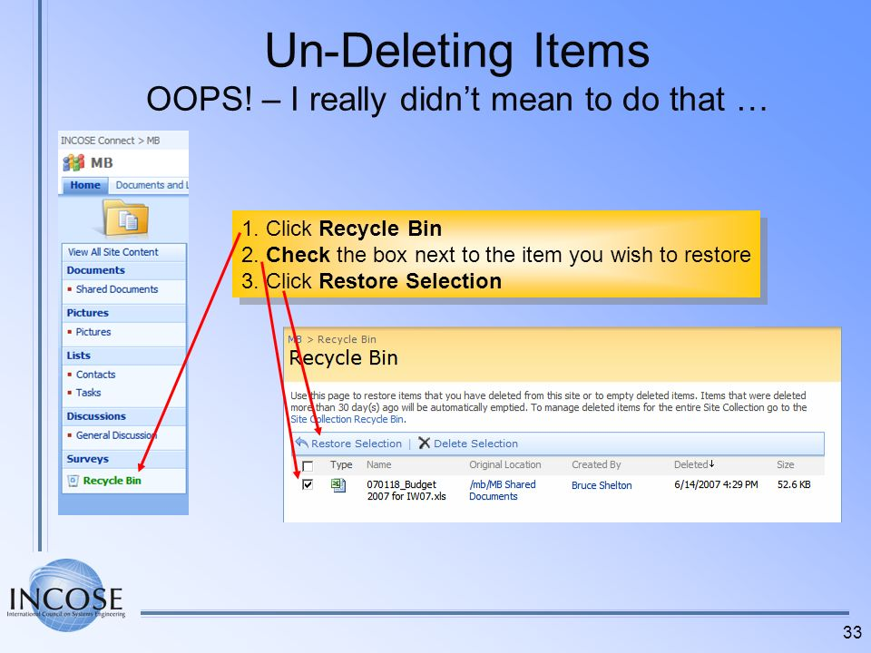 Un-Deleting Items OOPS! – I really didn't mean to do that …
