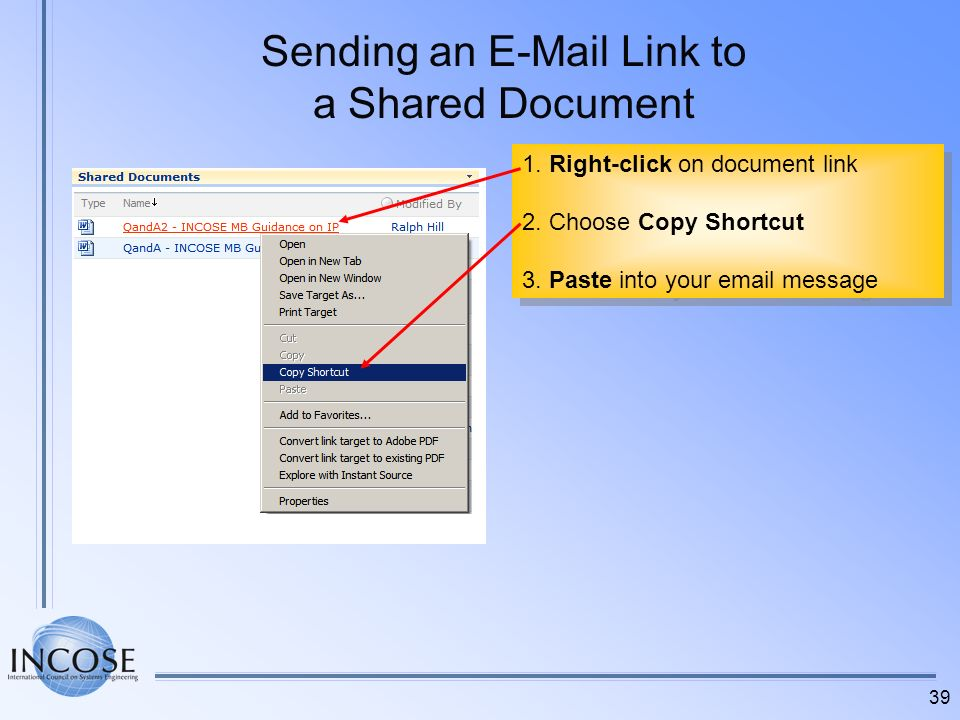 Sending an E-Mail Link to a Shared Document