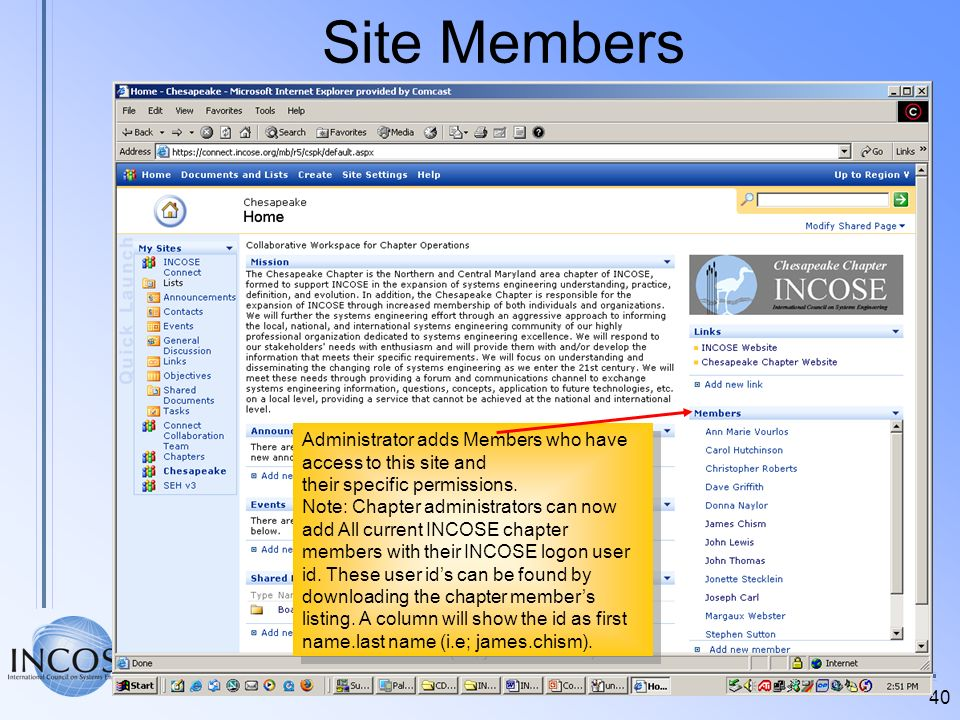 Site Members Administrator adds Members who have access to this site and. their specific permissions.