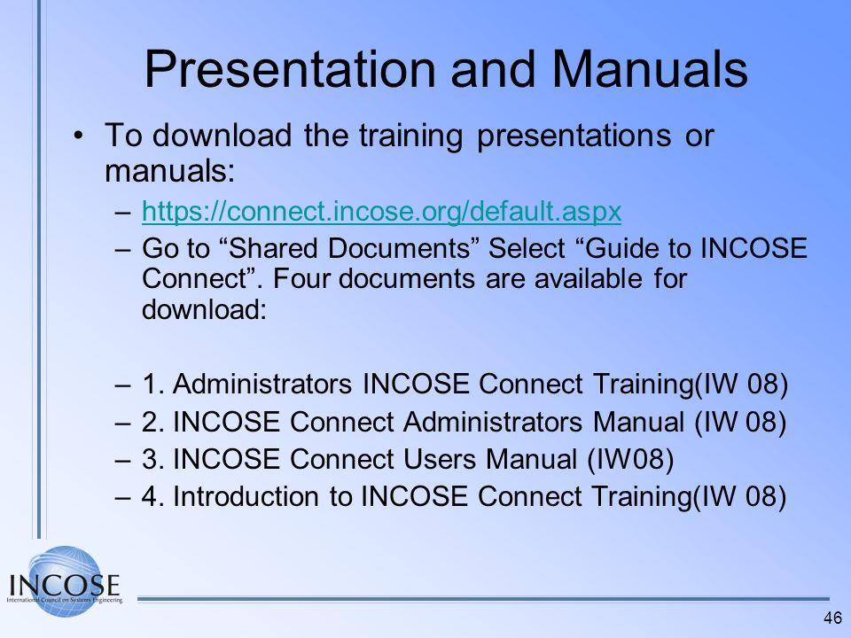 Presentation and Manuals