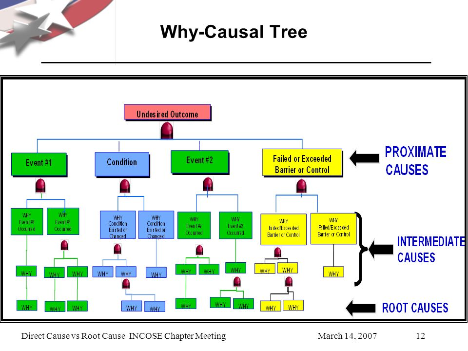 Why-Causal Tree Direct Cause vs Root Cause INCOSE Chapter Meeting