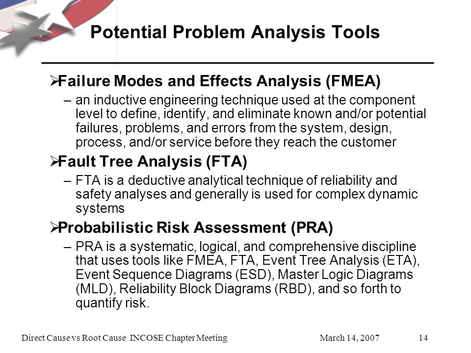 Potential Problem Analysis Tools