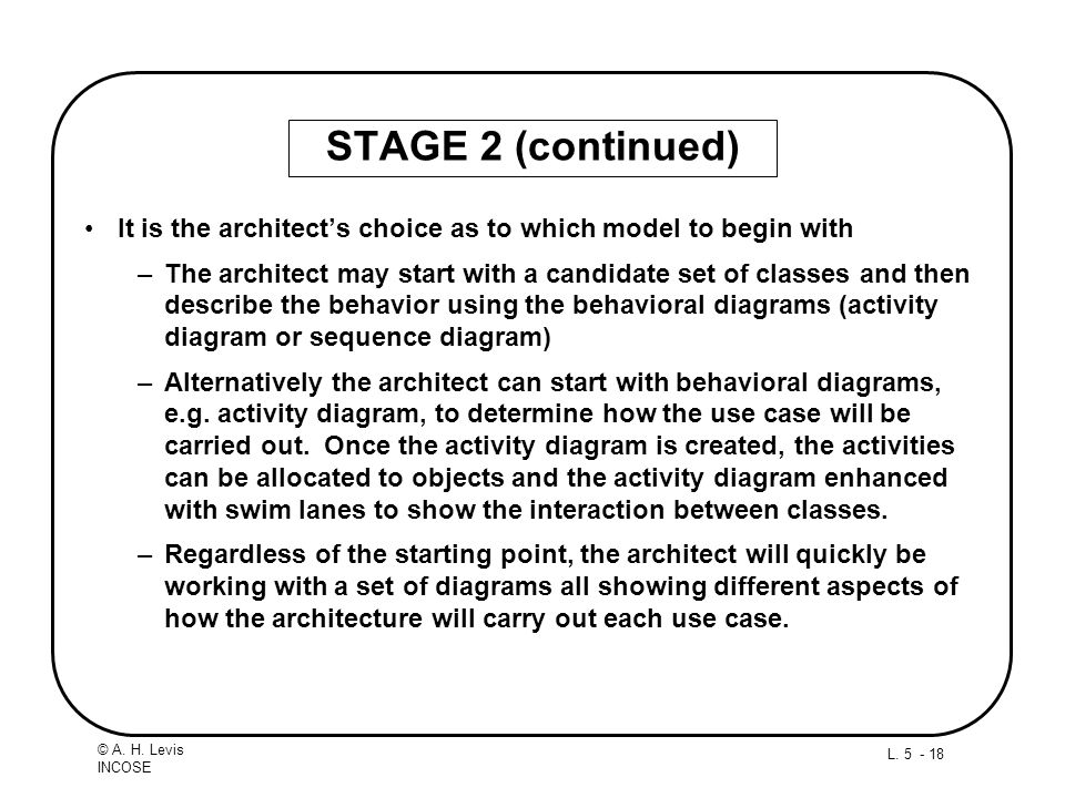 STAGE 2 (continued) It is the architect's choice as to which model to begin with.