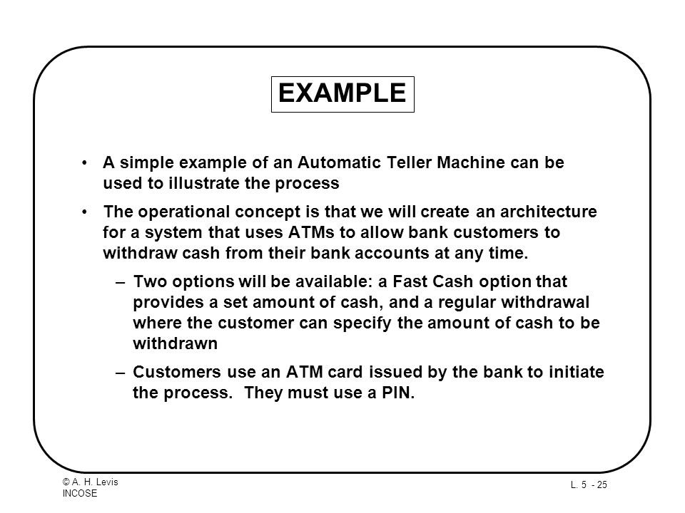 EXAMPLE A simple example of an Automatic Teller Machine can be used to illustrate the process.