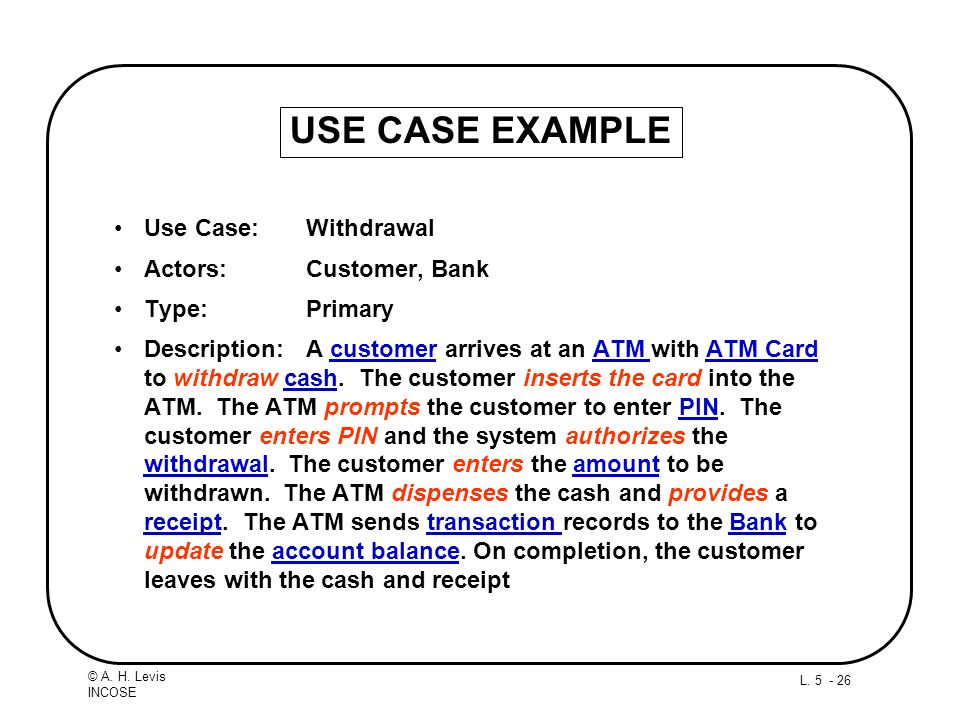 USE CASE EXAMPLE Use Case: Withdrawal Actors: Customer, Bank