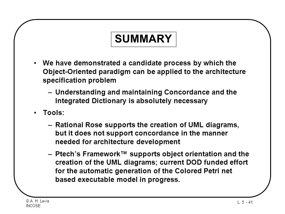SUMMARY We have demonstrated a candidate process by which the Object-Oriented paradigm can be applied to the architecture specification problem.